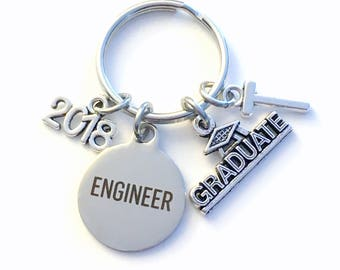 Graduation Gift for Engineer Keychain, 2018 2017 Engineering Key Chain Mechanical Civil Industrial Student Grad KeyChain Keyring Graduate