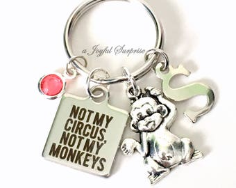 Not my Circus, Not my Monkeys Keychain, Gift for Coworker Present Personalized Boss Retirement, Polish saying Quote Keyring Key Chain Charm