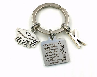 2021 Graduation Gifts for Her Keychain / Behind you, all your memories before you, all your dreams, around you, all who love you. Within you