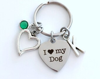 I love my Dog KeyChain, Doggie Key Chain, Gift for Dog Mom Keyring, New Puppy Jewelry charm Initial Birthstone Mother's Day present Mutt Mut