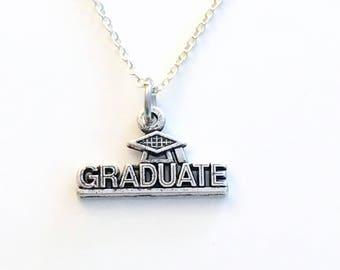 Graduate Necklace, Graduation Jewelry, Grad Scroll Hat Gift, Silver present charm mortarboard Mortar Board 2018 for her him women man men