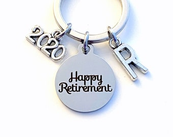 2020 Retirement Keychain for Men, Him or Her Happy Retiring Present Coworker Key chain Gift for Boss Keyring Initial letter custom Dad