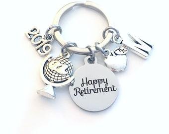 Retirement Gift for Social Studies Teacher Keychain, 2019 World Religions Apple Key chain Keyring Retire Initial letter Her Global him 2020