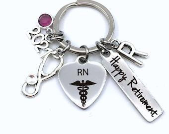 Registered Nurse Retirement Present / 2021 RN Keychain / Gift for Women or Men Key Chain / Happy Retire Key Chain / Nursing Keyring him her