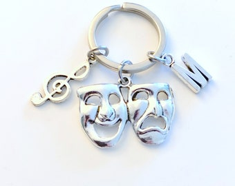 Gift for Drama Major Keychain / Musical Theatre Performer Key chain / Drama Mask Keyring / Theater School Director / Performing Arts Teacher