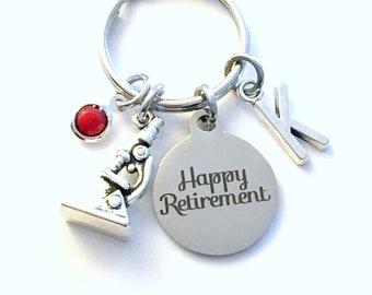 Retirement Gift for Lab Tech Keychain, Science Teacher Key chain, Microscope Scientist Keyring Initial letter men women her him birthstone