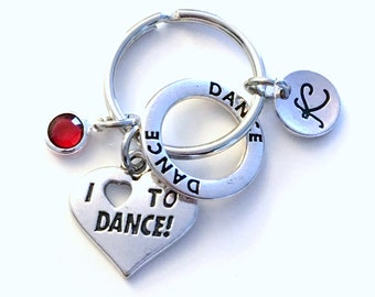 I love to DANCE Keychain, Gift for Daughter Key Chain, Dancer Circle Keyring Jewelry Initial letter present girl mom young girl concert tap