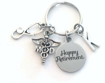 MD Keychain Retirement Key Chain, Medical Doctor Caduceus, PHD PH D Keyring, Initial letter her him women general practitioner Physician