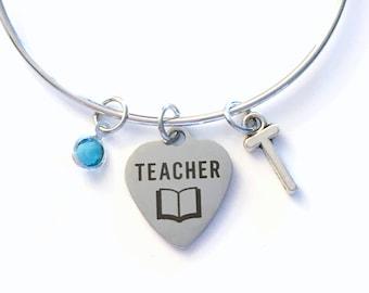 Teacher Charm Bracelet, Teaching Bangle, Gift for Teacher Present Education Student Grad Present Silver Bangle Jewelry initial custom women