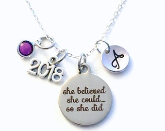 Graduation Gift for her Charm Necklace, 2018 Grad Jewelry, She Believed she could so she did Present Accomplishment silver her Retirement