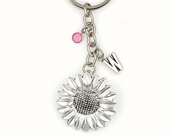 Sunflower Keychain, Large Sun Flower Key Chain, Gift for Gardener, Spring Summer BFF Keyring, Florist Birthday Present, Swarovski crystal