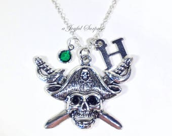 Skull and Sword Necklace, Pirate Skull Jewelry Silver Charm, Gift for Pirate Birthday Pendant Christmas Present Initial birthstone skelton