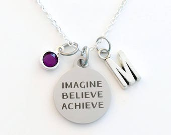 Imagine Believe Achieve Necklace, Daughter Jewelry, Gift for Graduation Present, Teen Girl Birthstone initial letter her Teenage retirement