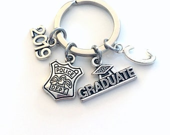 Graduation Gift for Him, Police Officer Keychain, 2019 Policemans Key Chain Cop Bobby Emblem Grad Keyring woman Department men women him her