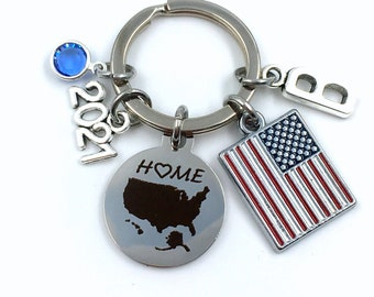 2021 Gift for New USA Citizen Keychain / Red, White and Blue US Flag Key Chain / Patriotic Home Map / American Citizenship Immigrant Present