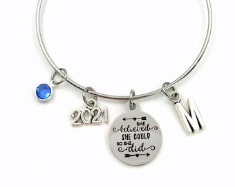High School Graduation Gift for her / 2021 She believed she could so she did Charm Bracelet / Job promotion Jewelry, Silver New Grad Present