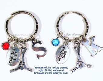 Best Friend Keychain, Birthday Gift for BFF Set of 2 Hockey Sticks Key Chain Boy Girl Keyring initial birthstone Sports Player swim soccer