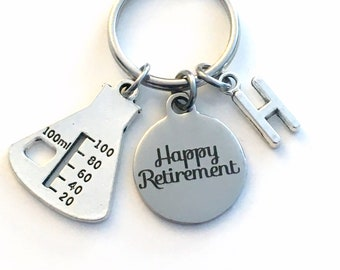 2021 Retirement Gift for Chemist / Laboratory Tech Keychain / Chemistry Lab Beaker Key chain / Science Keyring / Happy Retire Coworker