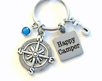 Gift for Camping Friend Keychain, Happy Camper Key Chain, Gift for Best Friend Keyring Initial letter her birthstone compass retirement him