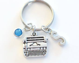 Journalist Keychain, Secretary Key chain, Typewriter Keyring, Gift for Woman Coworker Initial letter birthstone women her writer assistant