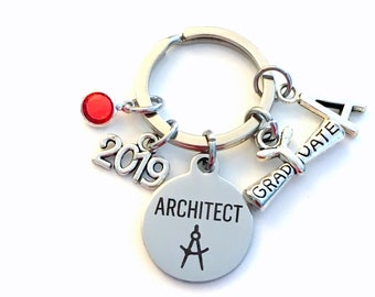 Architect Graduation Present, 2019 Architecture Keychain, Gift for Architectural Technology Student, Key Chain Grad Keyring him her 2020