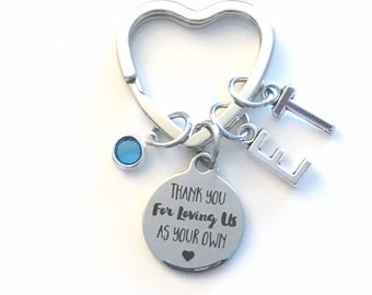 Step Mom Gift, Thank you for loving us as your own keychain Key Chain, Christmas Gift for Mother, Multiple letter birthstone 2 3 4 5 6 me