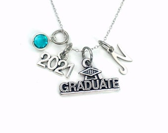 """Graduate Necklace / 2021 Graduation Gift for Student / Silver Grad Jewelry Present / custom personalized 18"""" 20"""" 16"""" long short chain"""