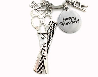 Retirement Gift for Hairdresser Keychain, 2021 Hair Dresser Stylist Key chain, Salon Keyring Retire Coworker scissors present men 2021