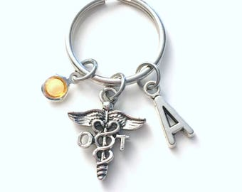 Occupational Therapist Gift for OT KeyChain, Therapy Keyring Key chain Initial Birthstone present women her him men birthday caduceus man