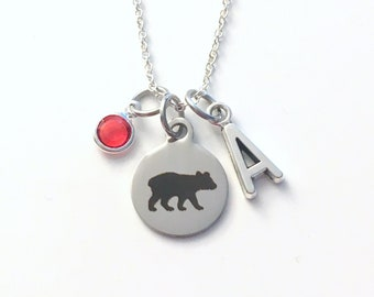 Baby Bear Necklace, New Mama Bear Jewelry, Gift for Daughter son Present Birthstone her silver Child Children Personalized Canadian Seller