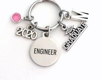 Graduation Present for Engineer Key Chain, 2020 Science Keychain Women Girl her Grad Keyring Jewelry Initial Birthstone him her men Graduate