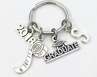 Graduation Gift for him, Construction Worker Keychain, 2017 2018 Dad Boss Key chain Keyring Grad Coworker Initial letter him Man Seamstress