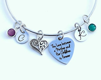 Gift for Mom Jewelry, The love between a Mother and her Children is forever Charm Bracelet You pick # of letters and swarovski birthstones
