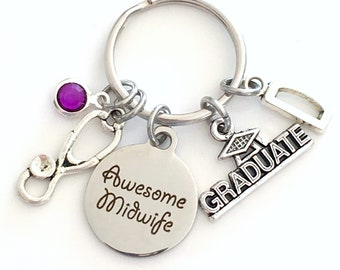 Awesome Midwife Graduation Keychain, Mid Wife Key Chain, Gift for Doula Nurse Stethoscope Keyring women Initial Birthstone her men present
