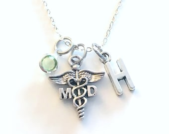 MD Gift, Medical Doctor Necklace, Physician Jewelry, DR Silver Caduceus Charm Personalized for birthday present for men women her coworker