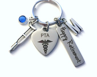 Retirement Gift for PTA Keychain, Physical Therapist Assistant Key Chain Therapy Keyring him her men women present Retire crutch charm