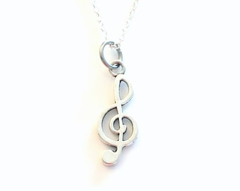 Treble Clef Necklace, Music Jewelry, Music note Gift for Musician, Silver Charm Pendant Music teacher Band Instructor Boy Men man woman teen