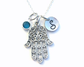 Hamsa Hand Necklace, Protection Jewelry Hand of Fatima Gift Initial Birthstone Personalized Custom Silver Charm Pendant Long Short Chain 161