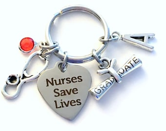 Nurses Save Lives KeyChain, Stethoscope Key Chain, Graduation Gift for Nursing Grad Keyring Jewelry Initial Birthstone him her women present