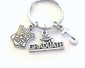 Graduation Gift for Him, Police Officer Keychain, 2021 Policeman Key Chain Cop Bobby Emblem Grad Keyring woman Department men women him her
