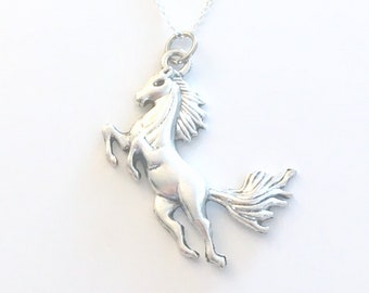 Large Statement Necklace, Horse Jewelry, Gift for Animal lover or Rider, Stallion Pendant, Jockey Charm, Teen Girl Teenage Long Short Chain