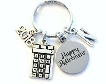Retirement Gift for Business Man or Woman Keychain, 2018 Accountant CPA Key chain Keyring Retire Initial letter present 2019 math teacher