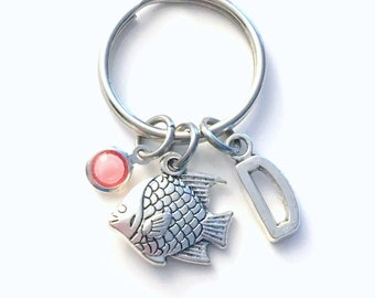 Fish Keychain / Gift for Fisherman Key Chain / Marine Animal keyring / Teenage Girl Present / Teen Girl Teenager Gift / Beach Fishy Charm