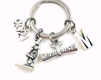 2021 Graduation Gift for Scientist Key Chain, Him or Her Keychain, Lab Technician Keyring, Tech Science Degree BSC Researcher Biologist Grad