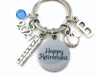 Teacher Retirement Gift Keychain / 2021 Secretary Present / Apple ruler Key chain / Personalized Keyring for her women him woman men man