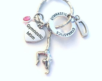 Gymnastic Mom Keychain, Silver Gymnast Mother Keyring Key Chain, Gift For Mother's Day Present Jewelry Heart Charm Personalized custom her