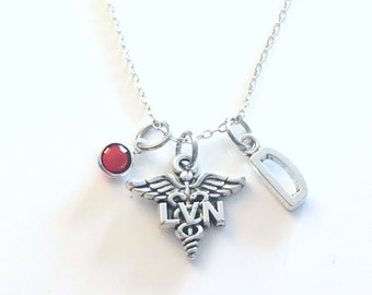 LVN Gift, Licensed Vocational Nurse Necklace, Nursing Jewelry, Silver Caduceus Charm Personalized for birthday present for men women her him