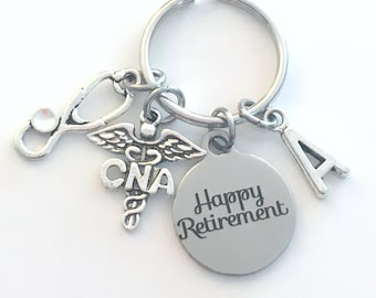 CNA Keychain Retirement Key Chain, Certified Nursing Assistant Keyring, Nurse Aid Caduceus, Initial letter her women birthstone stethoscope