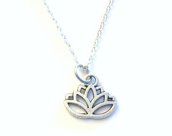 Silver Lotus Necklace, Flower Jewelry, Gift for Spiritual Teacher Awakening Symbol Birthday Christmas present for best friend charm daughter