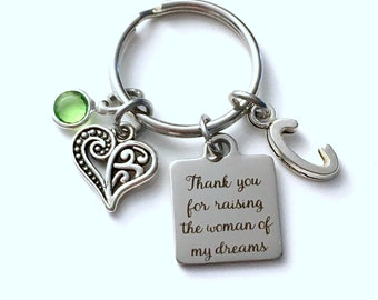 Gift for Mother's Day Present Keychain, Thank you for raising the woman of my dreams Key Chain, Initial Mom's Day Present in law Bride Dad